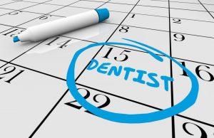 date for dental checkup in Natick circled on calendar